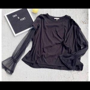 Oak + fort sz xs black sheer long sleeve